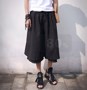 Mens Japanese Samurai Boho Harem Hakama Linen Pants Skirts Trousers Summer 3 4