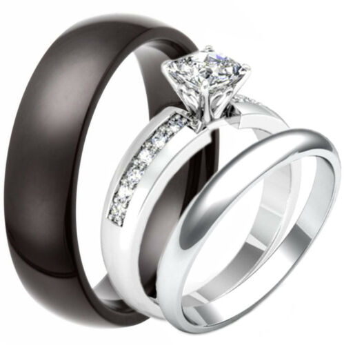 3 PC His and Hers Princess Cut Stainless Steel Engagement Ring Wedding Bands Set