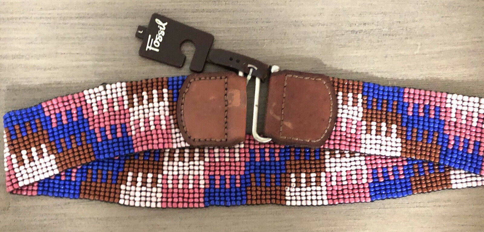 New Fossil Beaded Stretch Leather Hook Belt Large