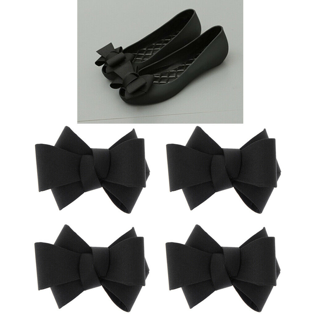 4x Fashion Ribbon Bowknot Shoe Charm Buckle Party Prom Removable Shoe Clip