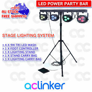CR-Lite-DJ-4-Bar-LED-Par-can-Pack-Stage-Light-Foot-Controller-Stand-Party-Bar