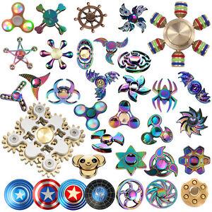Figet-Hand-Spinner-Rainbow-Fidget-Finger-Metal-Tri-ADHD-Cube-EDC-Stress-LED-Gold