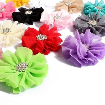 30PCS 6.5CM Polyester Fluffy Ballerina Chiffon Flower For Kids Dress