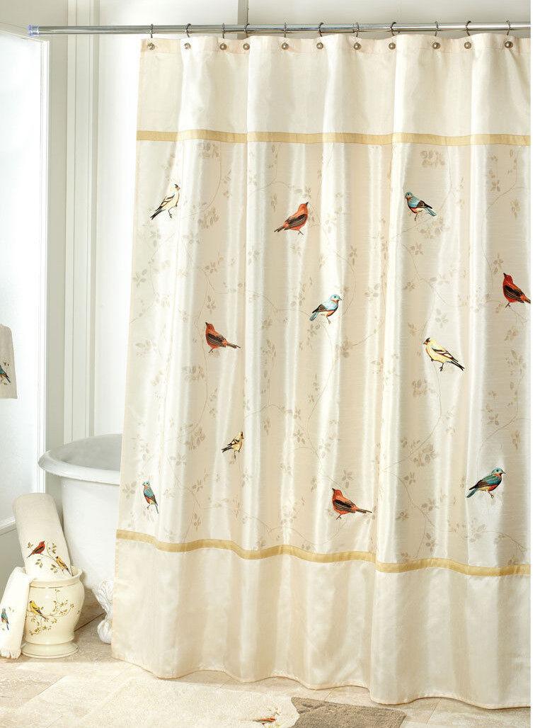 Avanti Linens Gilded Birds Fabric Shower Shower Shower Curtain, 12 Deluxe Shower Hooks, Ivory 0dd90d