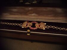 Vintage Butler & Wilson Leopard Heads Bracelet Topaz & Ruby Red Crystals