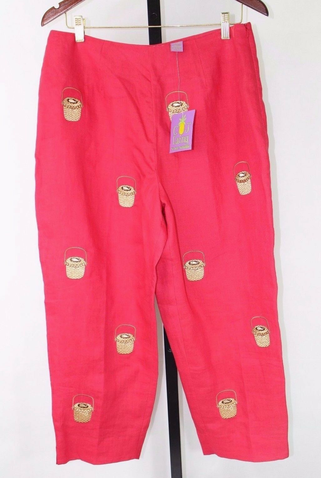 NWT CJ LAING Capris Red with Baskets Pattern 100% Linen - Fully Lined, Size 14