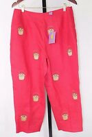 Cj Laing Capris Red With Baskets Pattern 100% Linen - Fully Lined, Size 14