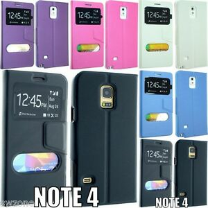 quality design b343a 97cfb Details about SAMSUNG GALAXY NOTE 4 N9100 LEATHER CASE COVER FLIP POUCH  DUAL WINDOW SM-N910F