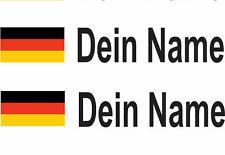 TOP Aufkleber 4x  Deutschland Flagge Dein Name Schriftfarbe weiß Motorsport