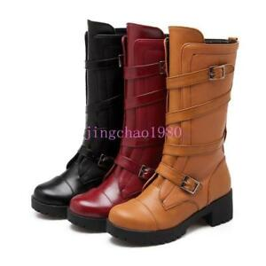 Hot-Womens-Leather-Strappy-Belt-Buckle-Block-S-Heel-Winter-Mid-Calf-Boots-C-2018