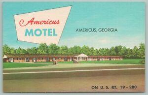 Americus-Georgia-Americus-Motel-View-Across-Route-19-1940s-Roadside