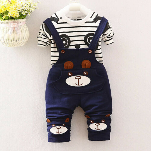 Toddler Newborn Baby Boys Girl Tops T-shirt+Bib Pants Party Outfit Clothes KW