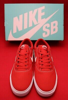 Men's Nike SB Charge Canvas Size 10 Mystic Red/White Skateboard Shoes Solarsoft