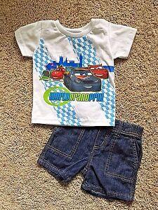 NWT-Infant-Boys-White-Short-Sleeve-Cars-Top-Blue-Denim-Shorts-2pc-12M