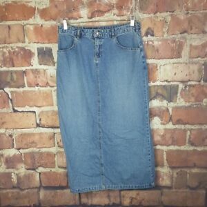 Old-Navy-Womens-Denim-Skirt-Size-8-Slit-Long-Jean-Pockets