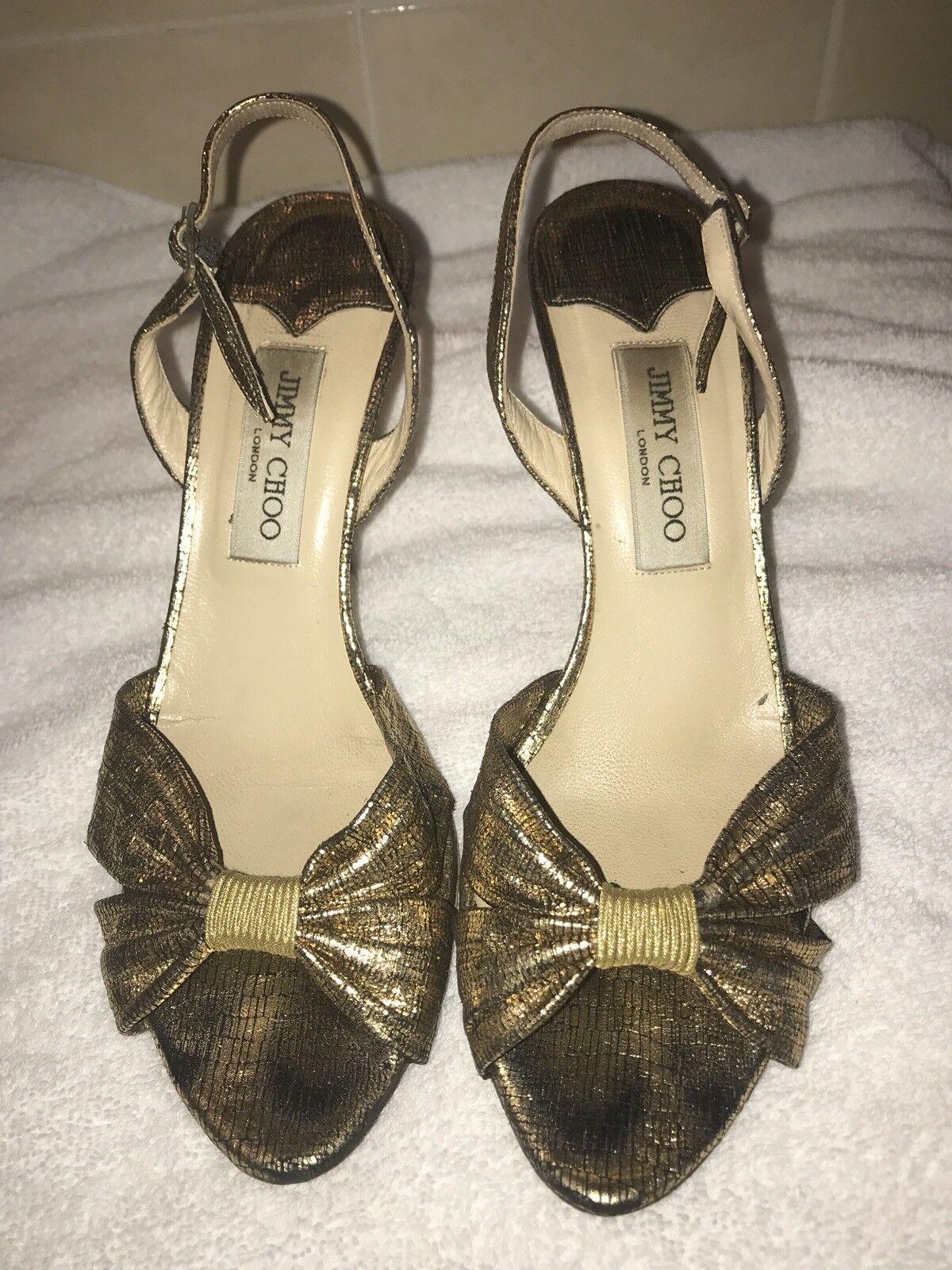 Jimmy Choo gold Metallic Nappa Sandals 39.5  450