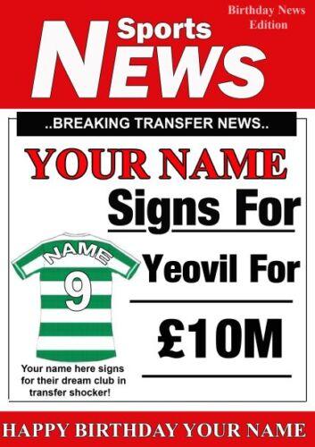 A5 Personnalisé Yeovil FOOTBALL Voeux Carte D/'Anniversaire tout nom l/'âge de valeur