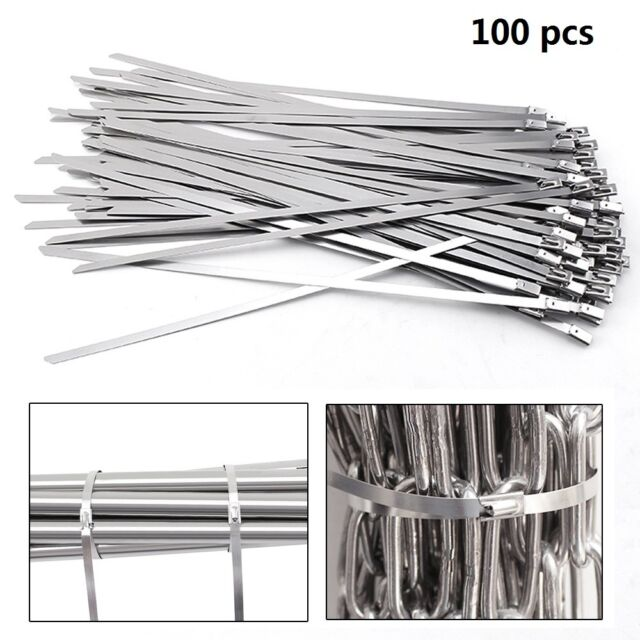 """100Pcs Chrome 12/"""" Stainless Steel Header Wrap Straps Self Locking Cable Zip Ties"""