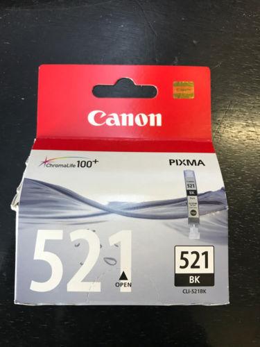 Genuine Canon CLI-521BK Ink Cart - Black New Sealed 521 Ink Tank