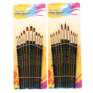 12pc//Set Artist Watercolor Painting Brushes Brush Oil Acrylic Flat/&Tip Paint Kit
