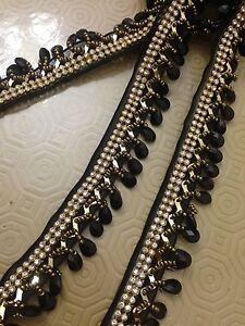 Black Beaded Teardrop Trim Curtain Blind Bead Fringe