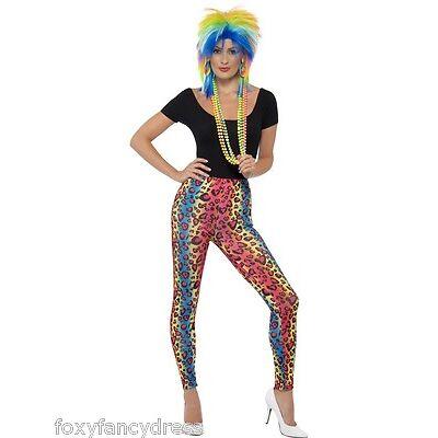 1980 Neón Disco Raver Estampado Leopardo Leggings Años 80s Disfraz Mujer 8-10
