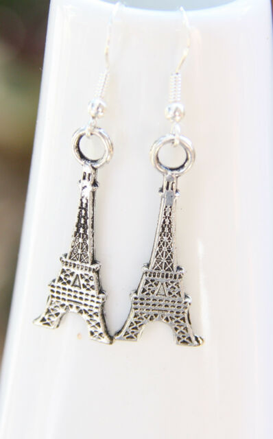 Love Paris, Paris Eiffel Tower silver charm earrings handcrafted New