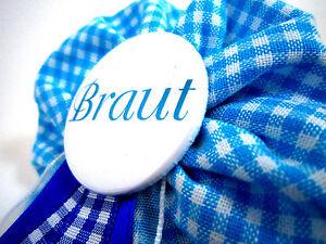 Orden-Braut-blau-JGA-vichy-Deko-Accessoire-Anstecker-Button-Hochzeit-Bride-to-be
