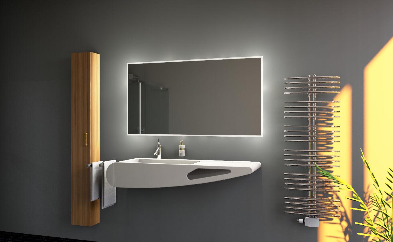 led bad spiegel badezimmerspiegel mit beleuchtung badspiegel wandspiegel pilar ebay. Black Bedroom Furniture Sets. Home Design Ideas