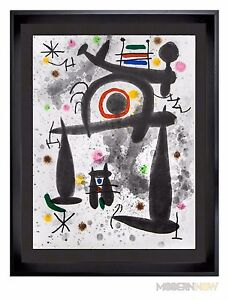 Joan-MIRO-Color-Lithograph-LIMITED-Edition-1971-22x25in-Custom-FRAMING
