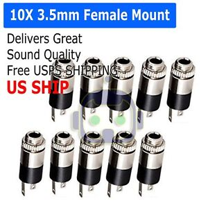 10PCS-3-5mm-Female-Stereo-Audio-Jack-Connector-panel-mount-US-Stock
