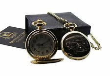 VW CAMPER VAN 24k GOLD Clad Pocket Watch Full Hunter Case in Luxury Gift Box