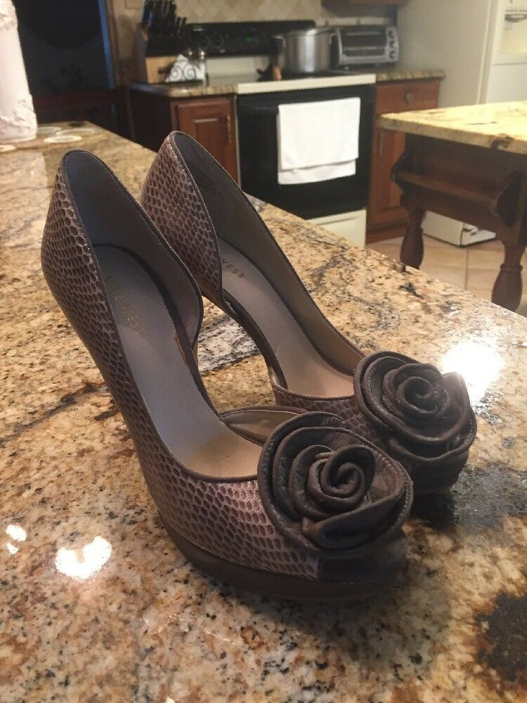Nine West Peep Toe Snake Embossed Heels With A pinktte
