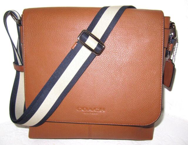a02395bd29 ... f71723 mens flight bag smooth leather crossbody shoulder bag saddle  2c4f1 discount coach f72108 mens sullivan messenger bag saddle leather new  authentic ...
