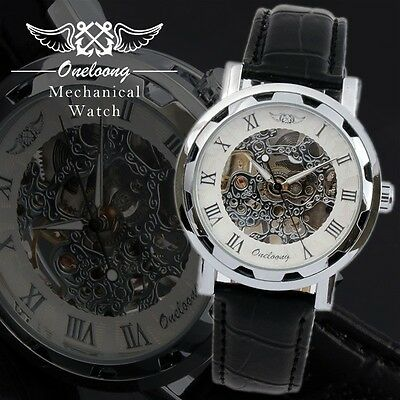 Silver Mechanical Watch For Men with Skeleton Dial  Black Leather Silver  Watch