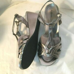 Style-Co-Silver-Wedge-Sandals-7W-Strappy-Wide