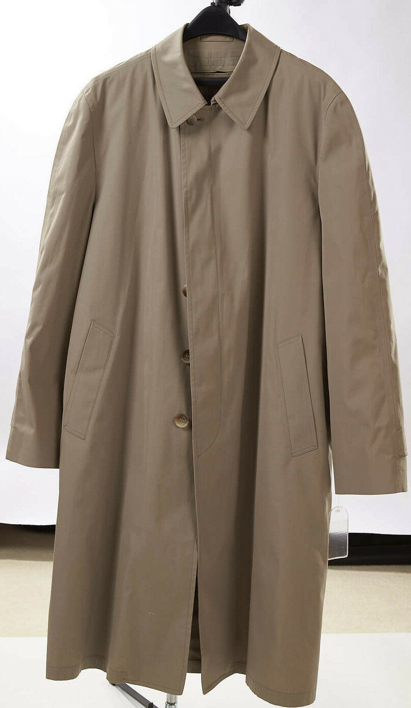 Mens 46 Long 46L Beige Khaki All Weather Trench Coat Removable Lining NWOT