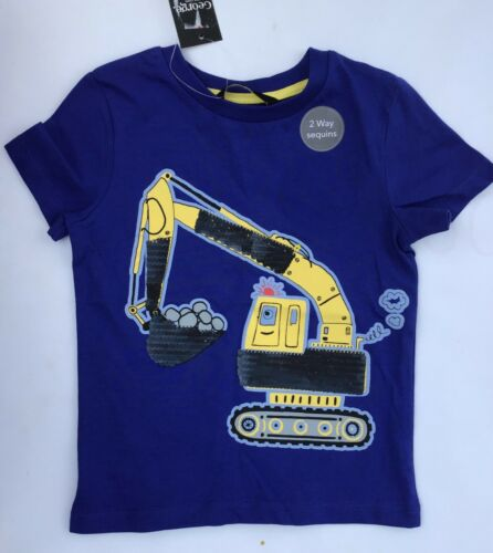 Boys Navy Blue T Shirt with Diggers and 2 Way Sequins detail Baby