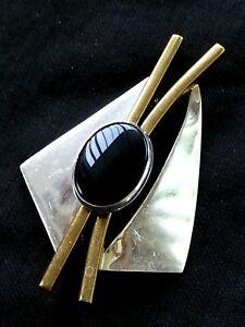 7f9504bec9b7 La imagen se está cargando Vintage-Plata-Esterlina-y-Negro-Onix-Broche-7-