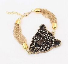 Panther Leopard Head Fashion Rhinestone Golden Bracelet