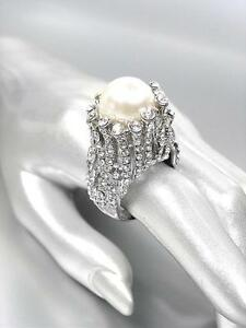 STUNNINGLY-UNIQUE-Chunky-Creme-Pearl-CZ-Crystals-Silver-Cocktail-Ring