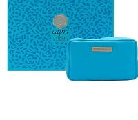 Vince Camuto Capri Blue Cosmetic Bag Cosmetics Travel Makeup Case Womens