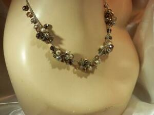 Nice Vintage 1980's-Modern Silver Tone Faux Pearl Cha Cha Showy  Necklace 783jl9