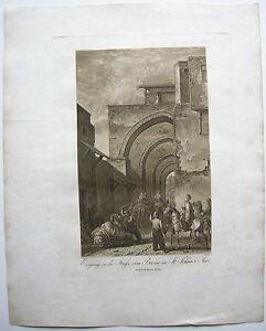 Ansichten & Landkarten Johann Israel Aquatinta Sepia Döbler 1827 Heiliges Land äSthetisches Aussehen Acre Bazar St
