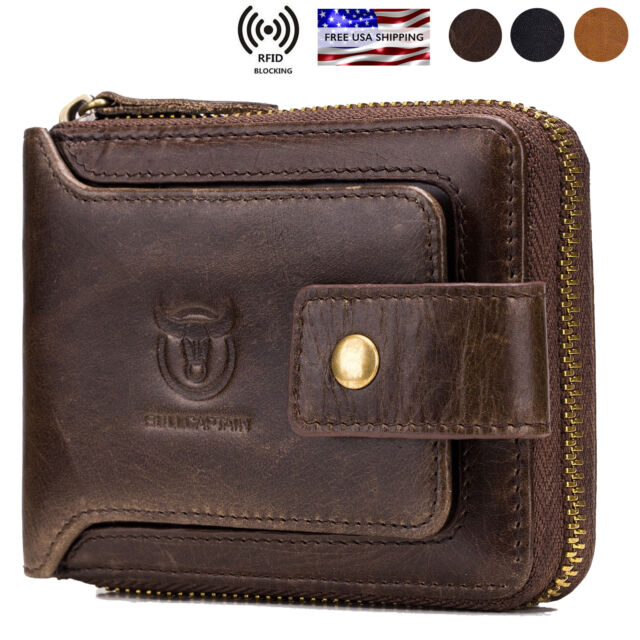 b69d934d485 Mens Womens Genuine Leather Wallet RFID Blocking Zipper Bifold Credit Card  Purse