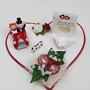 Geldgeschenk Hochzeit Rot Weiss Brautpaar Im Auto Eheringe