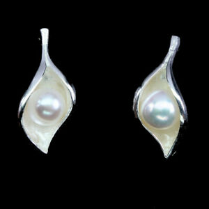 Charming-100-Natural-Round-6-mm-Creamy-White-Pearl-925-Sterling-Silver-Earrings