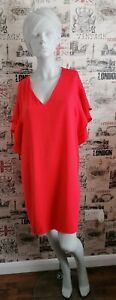 New-Red-Shift-Frill-Sleeve-V-neck-Dress-Size-18-UK-XMAS