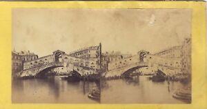 Venezia Pont Rialto Italia Foto Stereo Vintage Albumina Ca 1860