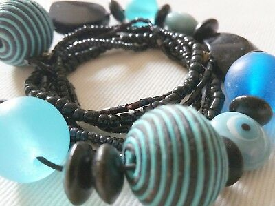 6 Bracelets Blue Black Wood Stone Acrylic Cord Glass Good Reputation Over The World Alicelle Handmade Necklace Jewelry Sets